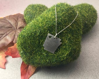 Personalized Sterling Silver State Pendant