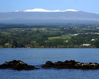 Fine Art Photography Nature - Big Island Hawaii Volcano - Mauna Kea Hawaiian Snow Capped Mountain on Hilo Bay - Landscape Photography