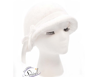 alpaca felt cloche hat, felt winter hat, cloche hat,