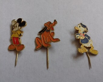 Set of 3 Vintage Disney Enamel pin, MICKEY MOUSE, Donald Duck and Pluto