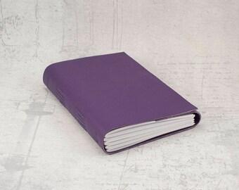 Purple faux leather journal sketchbook, unique notebook A6 travel journal