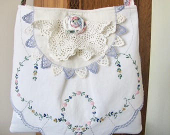 Vintage Linens Purse, Layered Doily Bag, Handmade, Embroidered Runner, Romantic Bag, Cross body Bag, Vintage linens bag, Adjustable Strap