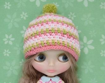 crochet Hello Spring Blythe hat /beanie with pompom