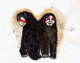 Two Kabuki Gorillas / watercolour monoprint gouache original