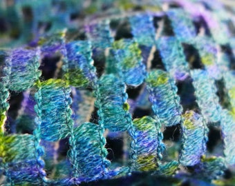 Vintage French Novelty Wool Net Lattice Fabric, Textured Blue Green Purple Open Weave Fabric, 2 Yards Designer Wool Net