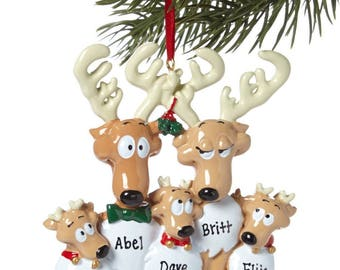 Rudolph Reindeer Family of 5 Personalized Christmas Tree Ornament