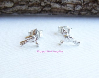SALE...  Super Tiny Sterling Silver Bird Earring Components... soldered post