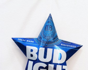 HUGE Bud Light Beer Star, Christmas Ornaments Aluminum Can Upcycled