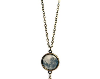 Full Moon and Star Charm Necklace, Small