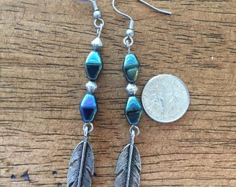 Native american vintage sterling silver feather earings (free shipping )