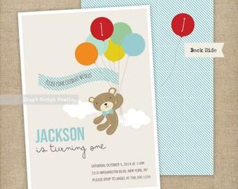 Boy Teddy bear and balloons birthday invitation | Printable