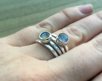 Labradorite Silver Stacking Ring Set, Stacking Rings, Labradorite Ring, Silver Ring, Sterling Silver Ring, Women's Ring, Semiprecious Ring