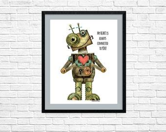 Robot Room printable, Robot Love, Robot Collector,  Robot Heart, Robots for her, Robot Fan Print, Connection quote print, RobinDavisStudio