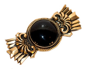 Vintage 80's golden brooch with black stone