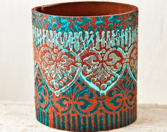 Turquoise Cuffs Bracelets - Leather Jewelry for Women - Wide Wristbands Unique Presents