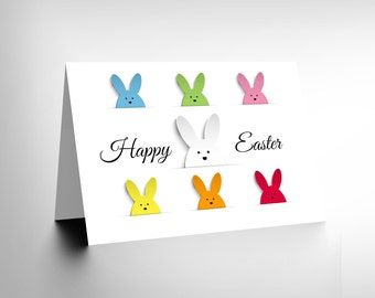 Easter Card / Bunny Card / Multi Colour Bunnies / Cute Easter Card CL1095