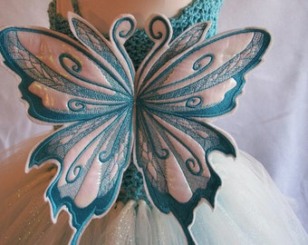 Stunning 3 Tiered Tutu Dress with Butterfly Wings-- Fairy Princess Dress