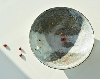 stoneware bowl, ceramic vessel, ceramic bowl, unique underglaze drawings, real gold decoration, home decor, wheelthrown pottery,  fruit bowl