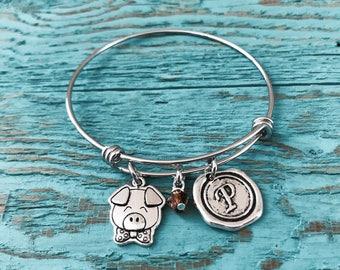 SALE, Pig, Silver Bracelet, Charm Bracelet, Pig Jewelry, Pig Gift, Pig Bangle, Pig Charm, Piggy, Pig Farmer. Silver Pig, Swine, Bangle