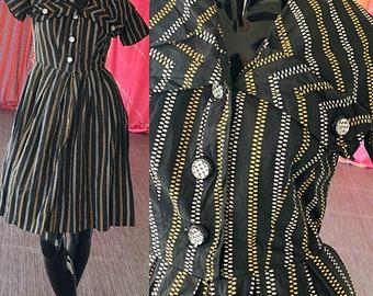 40s Dress Nautical Sailor Dress Vintage 1940s Woven Print Dress