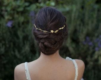 Champ de feuilles de couronne de feuille d'or bandeau, accessoire de coiffure mariage, diadème de mariage, Couronne grecque, diadème Or Rose, bijoux de cheveux Boho argent