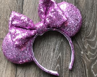 Violet Purple Sequin Minnie Mouse Ears