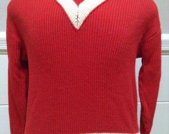 Vintage 1950s Norwegian Wool V Neck Sweater