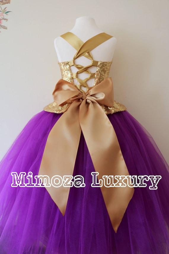 Gold Purple Flower Girl Dress, gold bridesmaid dress, couture flower girl gown, bespoke girls dress, tulle princess dress, gold purple tutu
