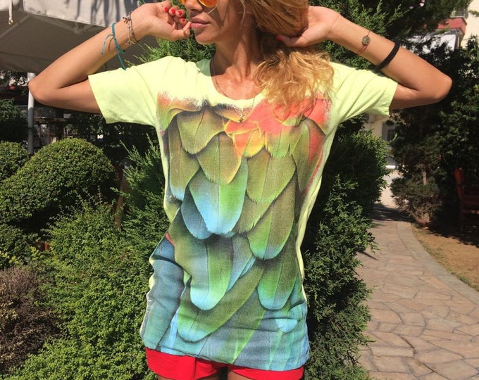 Hot Oversize Feather Print T-shirt, Handmade Short Sleeves Shirt, Printed Tee, Maxi Casual Top by SSDfashion