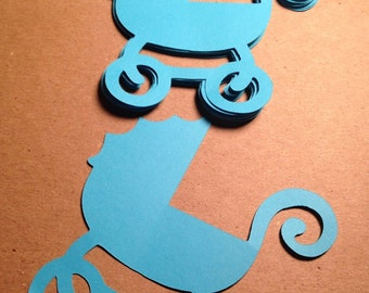 "Baby Stroller - Baby Carriage - 3.5"" Set of 18-  Paper Die Cuts - Select a Color - Baby Shower - Place Cards - Wish Tags - Scrapbook"