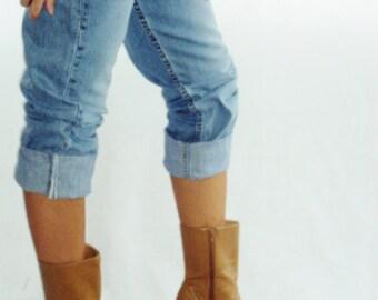 Size 7, 8 Tan VEGAN 90s Platform Avant Garde boots