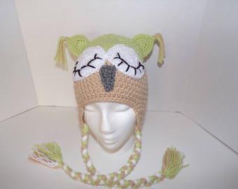 toddler sleepy owl hat, owl earflap hat, crochet owl hat, handmade owl, kids owl hat, warm kids hat