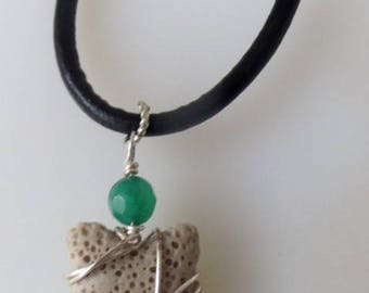 Aromatherapy Necklace Lava Rock Star Oil Diffuser Wire Wrapped Neck Green Chrysoprase on Black Leather Cord, Choose Length