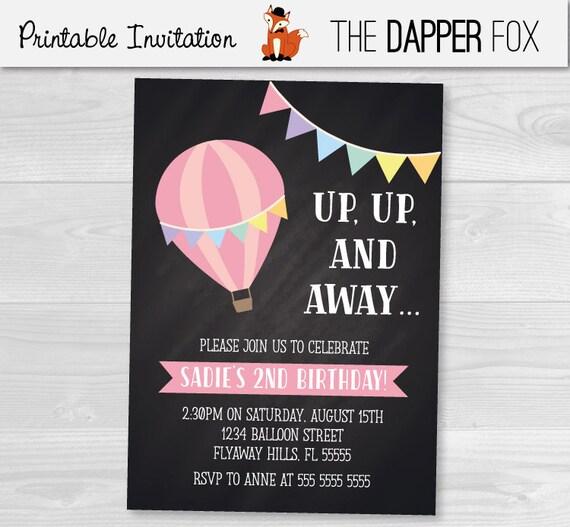 Hot air balloon chalkboard birthday invitation girls birthday filmwisefo