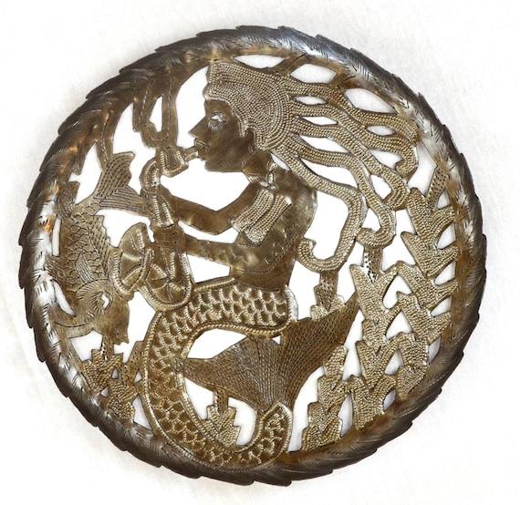 "Large Mermaid Sea Bowl, Decorative Functional Art, 11"" x 11"""