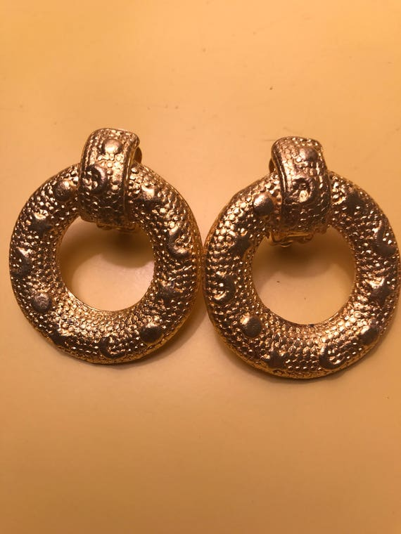 Vintage early 90's Bold Bling Supermodel Era Gold Tone Runway Style Clip on Hoops featuring Stars & Crescent Moons