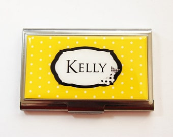 Business card holder, Business Card Case, Personalized Business Card Case, Custom Gift, Personalized, Polka Dot, Butterfly, Yellow (3729)