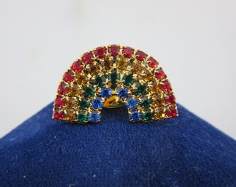 Rhinestone Rainbow Brooch - Pin Costume Jewelry Gay Pride Jewelry