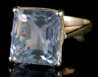 Art Deco Aquamarine Ring 18ct Gold 15ct Aquamarine