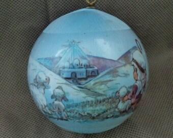 Hallmark satin Christmas ornament 1982, Christmas tree ornament , Hallmark Christmas ornament , Blue tree ornament , Vintage ornament