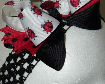 LAST ONE, LadyBug Boutique, Layered Hair Bow with Spikes, Polka Dot