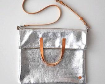 ANNA BAG Borsa pelle argento, borsa tracolla, borsa in pelle, borsa pelle metalizzata, tracolla in pelle, shopper in pelle, borsa cuoio
