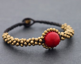 Coral Saturn Bracelets Charm Woven Beaded Stone