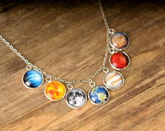 Statement necklace, solar system jewelry, gift for her, birthday gift for women, Christmas gift, gift for mom, space jewelry, space necklace
