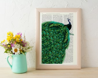 Peacock with endless tail Print on Vintage altered art dictionary page illustration book print peacock art ANI149