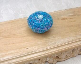 Blue Rose Basket - Handmade Vegan Silk Tapestry Basket Embellished w/ Glass Button - Valentine's Day, Mother's Day, Wedding Anniversary Gift