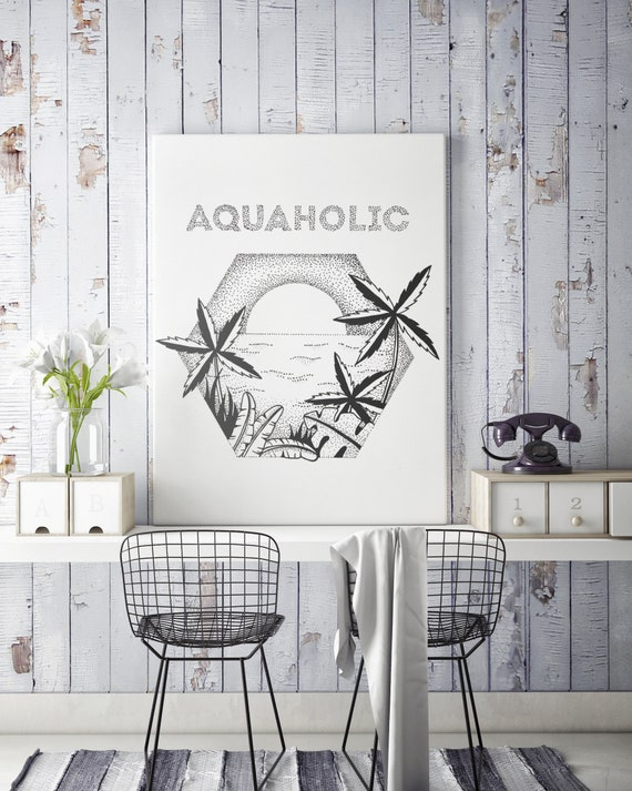 Aquaholic | Framed Canvas | Palm trees | Tattoo style | Original artwork | Ocean sunset | ZuskaArt