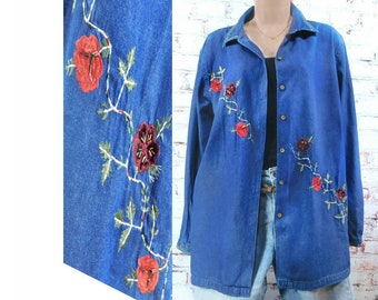 floral denim shirt -  blue jean shirt women - embellished denim shirt -altered denim shirt -long sleeve denim shirt - casual shirt -# S T 13