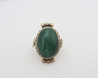 Vintage Sterling Silver Natural Malachite Ladies Ring Size 6.75