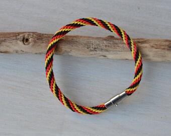German flag bracelet Kumihimo friendship bracelet Japanese braided bracelet Men's women's custom size bracelet Red yellow black bracelet
